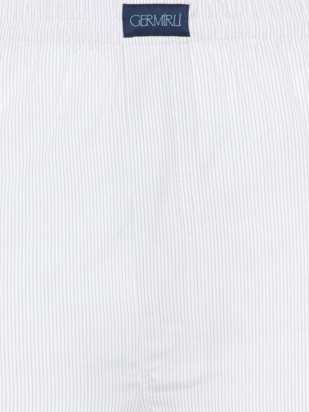 Germirli Beyaz Laci İnce Çizgili Pamuk Boxer Şort