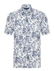 Germirli - Germirli Beyaz Lacivert Şal Desen Kısa Kollu Tailor Fit Gömlek