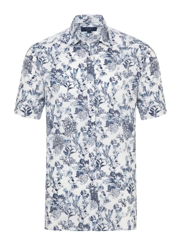 Germirli Beyaz Lacivert Şal Desen Kısa Kollu Tailor Fit Gömlek