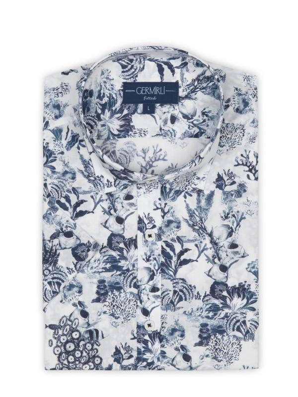 Germirli - Germirli Beyaz Lacivert Şal Desen Kısa Kollu Tailor Fit Gömlek (1)