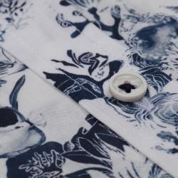 Germirli Beyaz Lacivert Şal Desen Kısa Kollu Tailor Fit Gömlek - Thumbnail