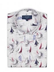 Germirli - Germirli Beyaz Lacivert Yelken Desen Kısa Kollu Tailor Fit Gömlek (1)