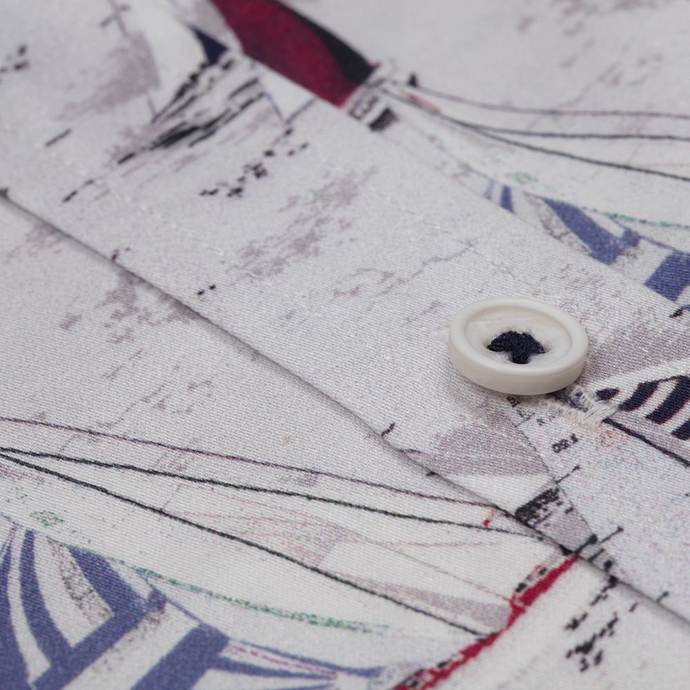 Germirli Beyaz Lacivert Yelken Desen Kısa Kollu Tailor Fit Gömlek