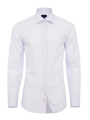 Germirli - Germirli Beyaz Lila Mor Çizgili Klasik Yaka Tailor Fit Gömlek