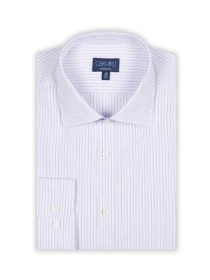 Germirli - Germirli Beyaz Lila Mor Çizgili Klasik Yaka Tailor Fit Gömlek (1)