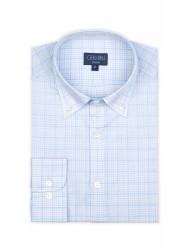 Germirli Beyaz Mavi Açık Gri Kareli Düğmeli Yaka Tailor Fit Gömlek - Thumbnail