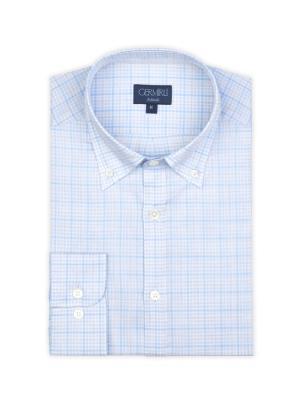 Germirli - Germirli Beyaz Mavi Açık Gri Kareli Düğmeli Yaka Tailor Fit Gömlek (1)