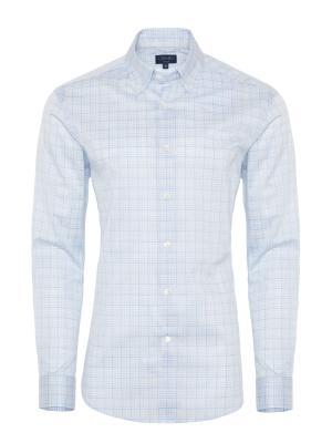 Germirli - Germirli Beyaz Mavi Bej Kareli Düğmeli Yaka Tailor Fit Gömlek