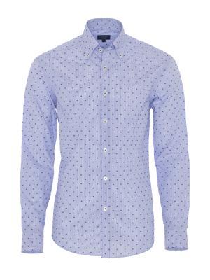 Germirli Beyaz Mavi Çizgili Puanlı Düğmeli Yaka Tailor Fit Gömlek