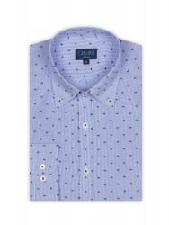 Germirli Beyaz Mavi Çizgili Puanlı Düğmeli Yaka Tailor Fit Gömlek - Thumbnail