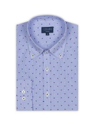 Germirli - Germirli Beyaz Mavi Çizgili Puanlı Düğmeli Yaka Tailor Fit Gömlek (1)