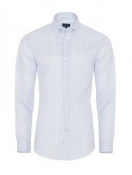 Germirli Beyaz Mavi Ince Çizgili Keten Düğmeli Yaka Tailor Fit Gömlek - Thumbnail