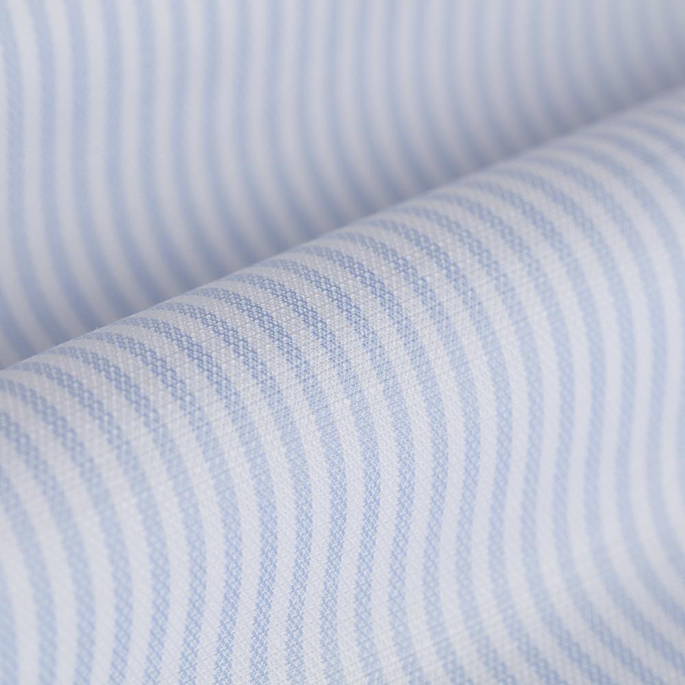 Germirli Beyaz Mavi Ince Çizgili Keten Düğmeli Yaka Tailor Fit Gömlek