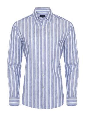 Germirli - Germirli Beyaz Mavi Çizgili Keten Düğmeli Yaka Tailor Fit Gömlek
