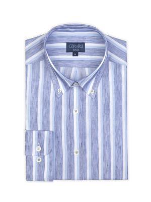 Germirli - Germirli Beyaz Mavi Çizgili Keten Düğmeli Yaka Tailor Fit Gömlek (1)