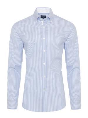 Germirli - Germirli Beyaz Mavi Çizgili Oxford Düğmeli Yaka Tailor Fit Gömlek