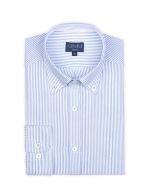 Germirli - Germirli Beyaz Mavi Çizgili Oxford Düğmeli Yaka Tailor Fit Gömlek (1)