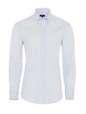 Germirli - Germirli Beyaz Mavi Kareli Düğmeli Yaka Tailor Fit Gömlek