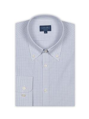 Germirli - Germirli Beyaz Mavi Kareli Düğmeli Yaka Tailor Fit Gömlek (1)