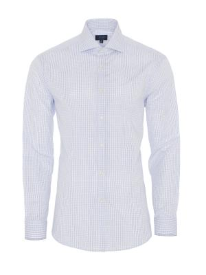 Germirli - Germirli Beyaz Mavi Kareli Klasik Yaka Tailor Fit Gömlek