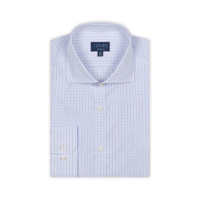 Germirli - Germirli Beyaz Mavi Kareli Klasik Yaka Tailor Fit Gömlek (1)
