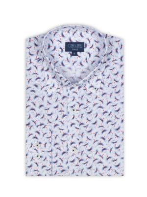 Germirli - Germirli Beyaz Mavi Kelebek Baskılı Düğmeli Yaka Tailor Fit Gömlek (1)
