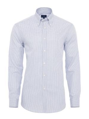 Germirli - Germirli Beyaz Mavi Kendinden Desenli Tailor Fit Gömlek