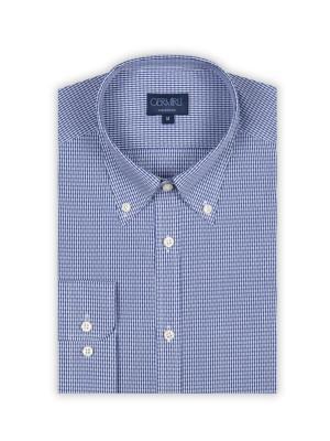 Germirli - Germirli Beyaz Mavi Kendinden Desenli Tailor Fit Gömlek (1)