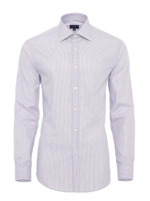 Germirli - Germirli Beyaz Mavi Kırmızı Kareli Klasik Yaka Tailor Fit Gömlek