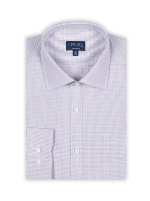 Germirli - Germirli Beyaz Mavi Kırmızı Kareli Klasik Yaka Tailor Fit Gömlek (1)