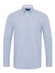 Germirli - Germirli Beyaz Mavi Panama Dokulu Çizgili Düğmeli Yaka Tailor Fit Gömlek