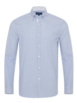 Germirli Beyaz Mavi Panama Dokulu Çizgili Düğmeli Yaka Tailor Fit Gömlek