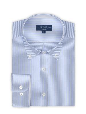 Germirli - Germirli Beyaz Mavi Panama Dokulu Çizgili Düğmeli Yaka Tailor Fit Gömlek (1)