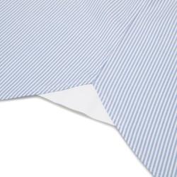 Germirli Beyaz Mavi Panama Dokulu Çizgili Düğmeli Yaka Tailor Fit Gömlek - Thumbnail