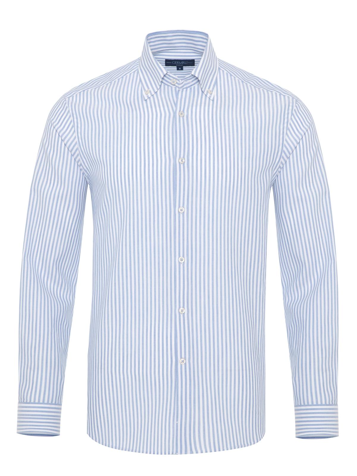 Germirli - Germirli Beyaz Mavi Petek Doku Çizgili Düğmeli Yaka Tailor Fit Gömlek