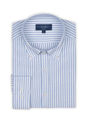 Germirli - Germirli Beyaz Mavi Petek Doku Çizgili Düğmeli Yaka Tailor Fit Gömlek (1)