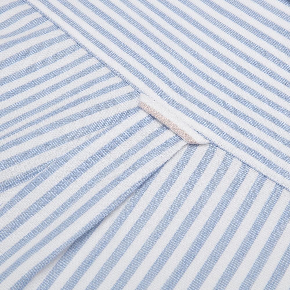 Germirli Beyaz Mavi Petek Doku Çizgili Düğmeli Yaka Tailor Fit Gömlek