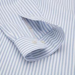 Germirli Beyaz Mavi Petek Doku Çizgili Düğmeli Yaka Tailor Fit Gömlek - Thumbnail