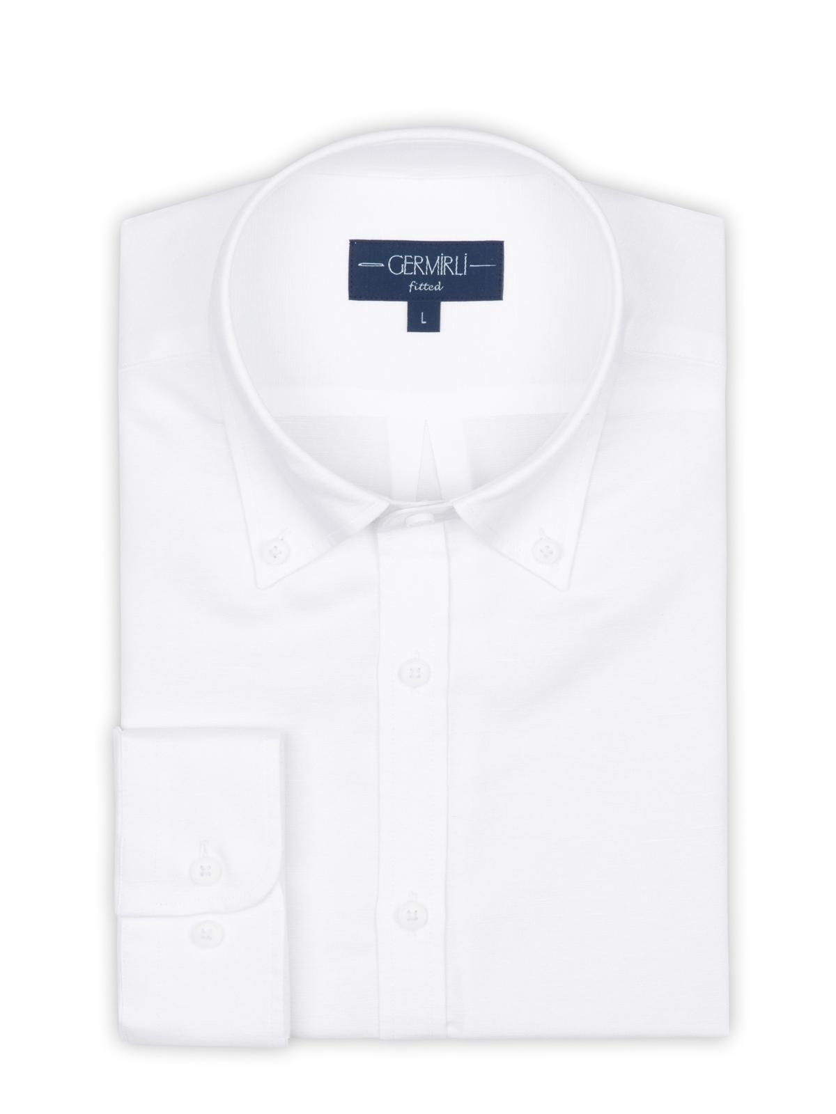 Germirli Beyaz Pamuk Keten Düğmeli Yaka Tailor Fit Gömlek