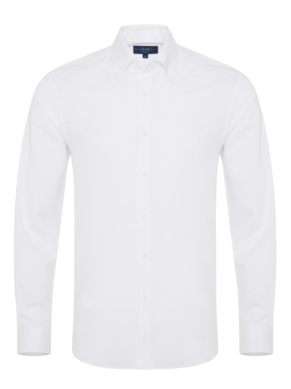 Germirli - Germirli Beyaz Pamuk Keten Düğmeli Yaka Tailor Fit Gömlek