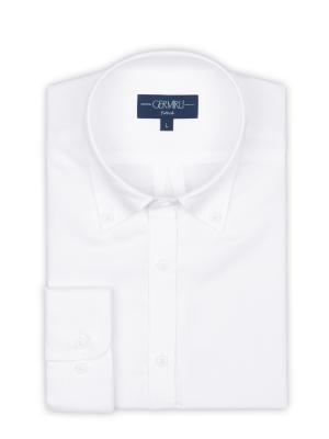 Germirli - Germirli Beyaz Pamuk Keten Düğmeli Yaka Tailor Fit Gömlek (1)