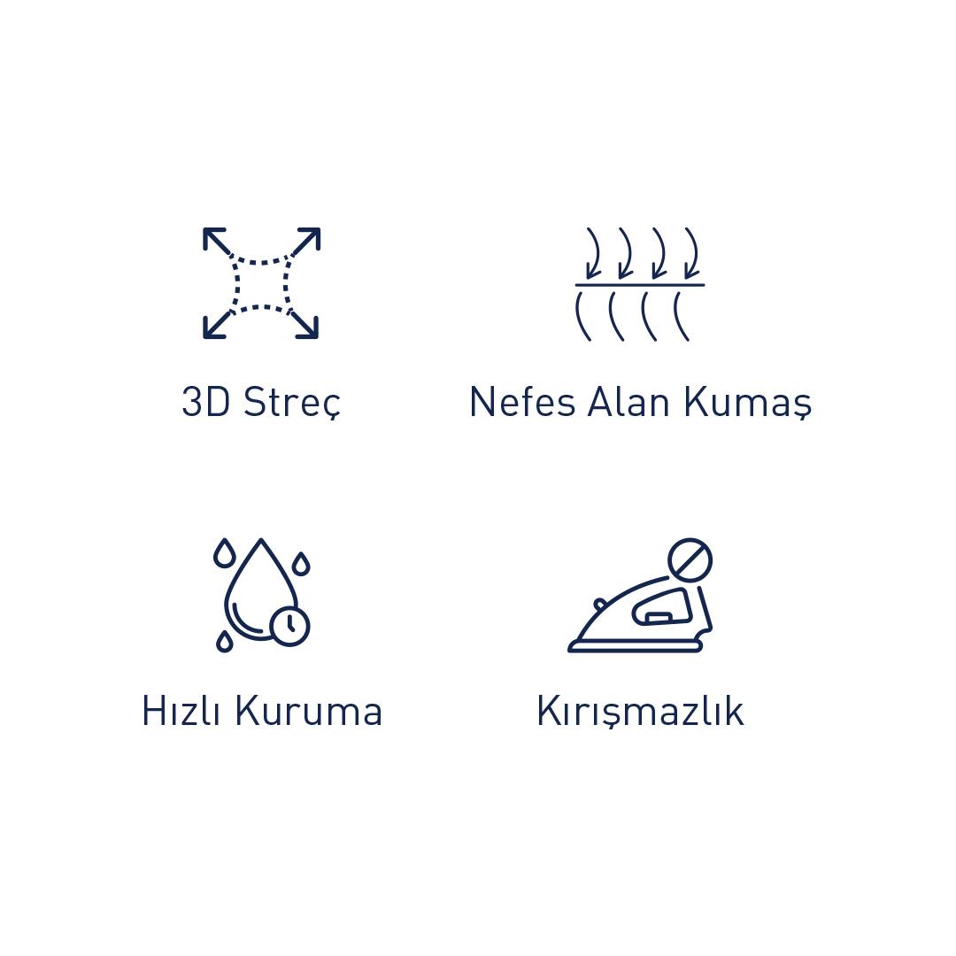 Germirli Beyaz Pamuklu 3D Streç Slim Fit Active Gömlek
