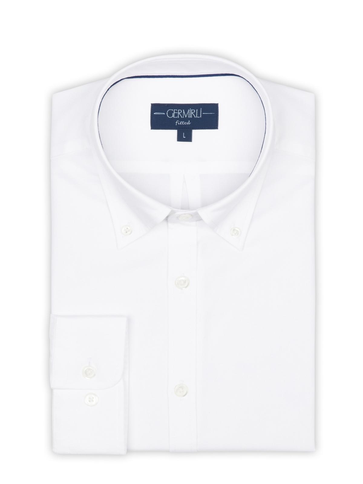 Germirli Beyaz Panama Dokulu Düğmeli Yaka Tailor Fit Gömlek