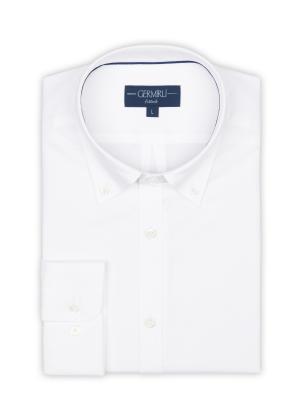 Germirli - Germirli Beyaz Panama Dokulu Düğmeli Yaka Tailor Fit Gömlek (1)