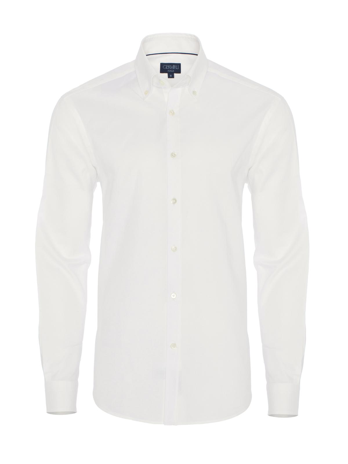 Germirli Beyaz Panama Düğmeli Yaka Tailor Fit Gömlek