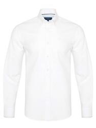 Germirli - Germirli White Panama Button Down Collar Tailor Fit Shirt