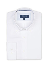 Germirli - Germirli White Panama Button Down Collar Tailor Fit Shirt (1)