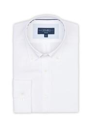 Germirli Beyaz Panama Düğmeli Yaka Tailor Fit Gömlek - Thumbnail