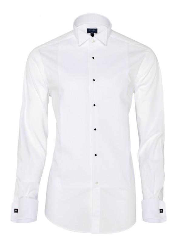 Germirli - Germirli Beyaz Petek Dokulu Ata Yaka Slim Fit Gömlek