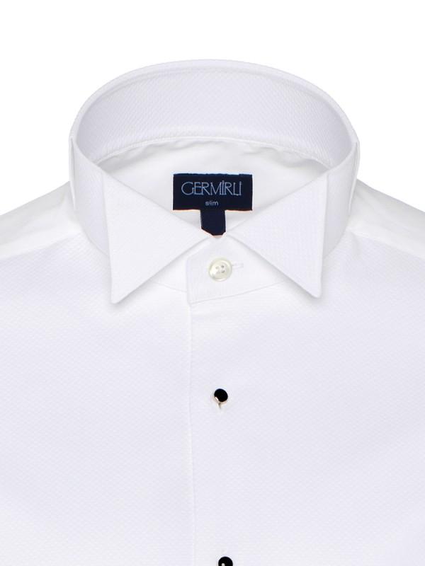 Germirli - Germirli Beyaz Petek Dokulu Ata Yaka Slim Fit Gömlek (1)
